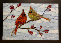 "Cardinals and Winterberry- 14"" X 20"""